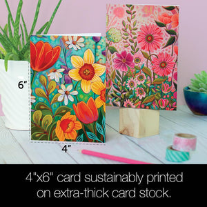 Vibrant Florals All Occasion 4x6 Bamboo Box Notecard Sets