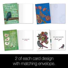 Load image into Gallery viewer, Birds of a Whimsical Feather All Occasion Greeting Card Assorted 16 pack