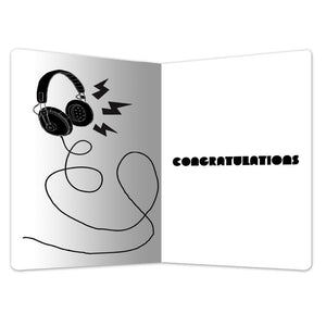"You Rock Headphones Congratulations ECOnote 4""x6"" Greeting Card 8 pack"