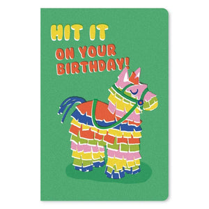 "Hit It Pinata Birthday ECOnote 4""x6"" Greeting Card"