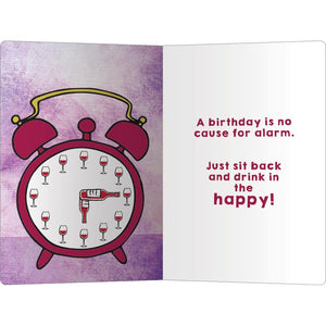 "Wine Alarm Birthday ECOnote 4""x6"" Greeting Card 8 pack"