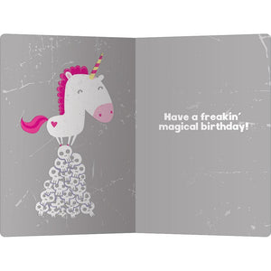 "Unicorn Skulls Birthday ECOnote 4""x6"" Greeting Card"