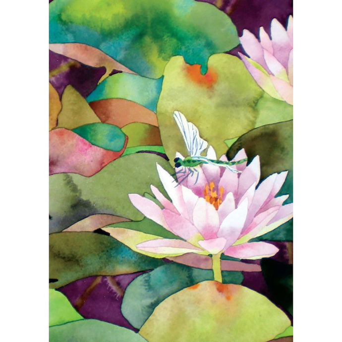 Waterlilies And Dragonfly Sympathy Greeting Card