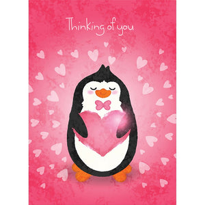 Cute Penguin Valentine 4 Pack Valentine's Day Greeting Card