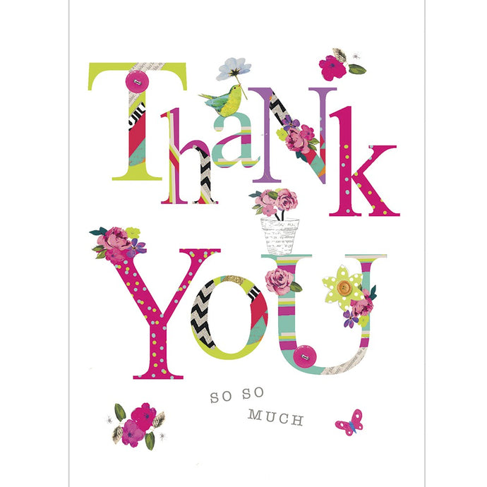 Flowery Thanks Thank You Greeting Card