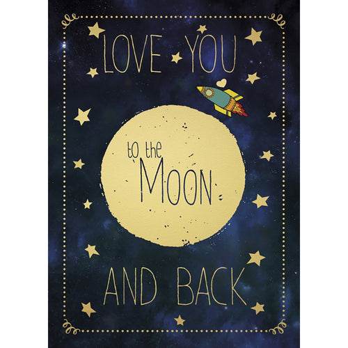 Moon And Back Birthday Greeting Card
