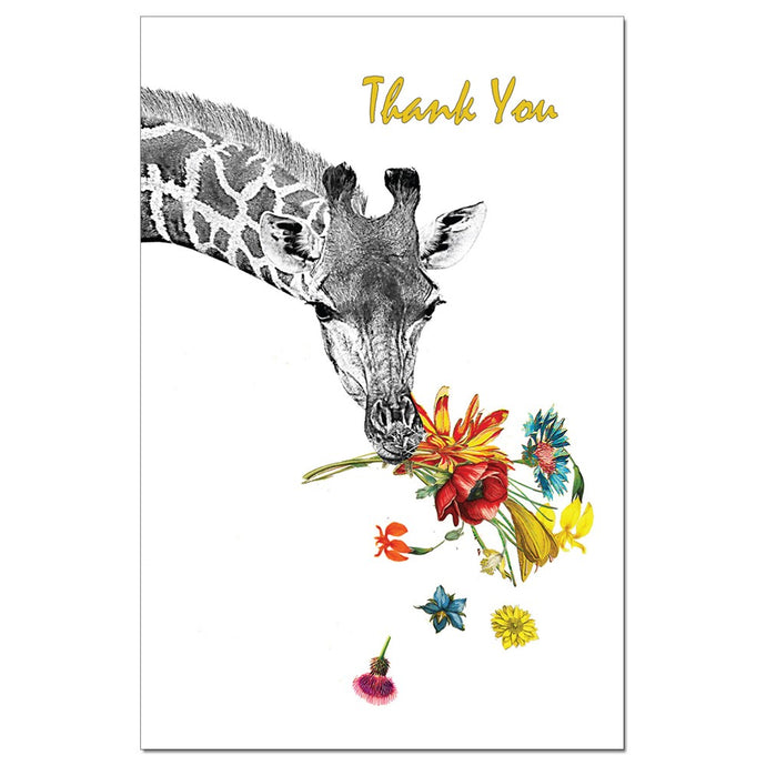 Floral Giraffe Thanks Thank You Greeting Card
