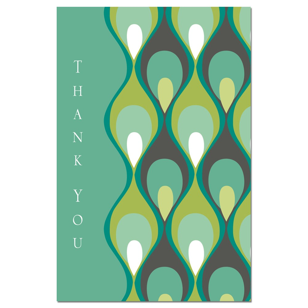 Teal Peacock Thanks Thank You Greeting Card