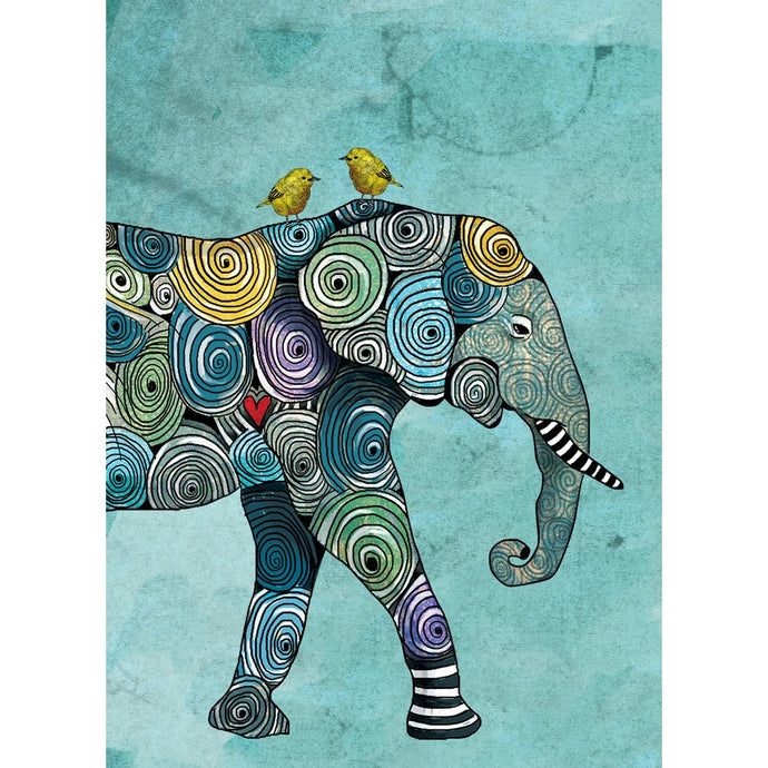 Elephant And Yellowbirds All Occasion Greeting Card