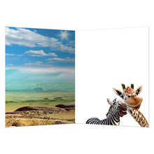 Load image into Gallery viewer, Zebra And Giraffe Selfie All Occasion Greeting Card