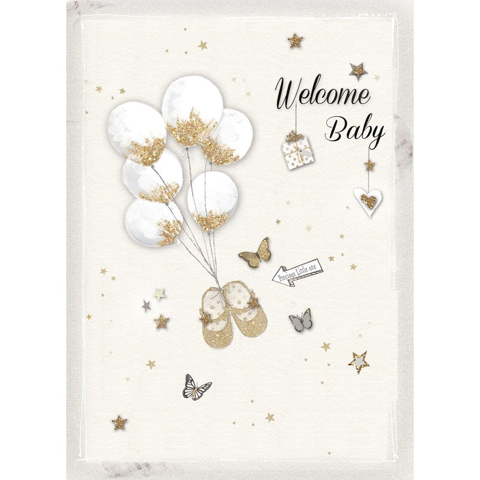 Golden Welcome New Baby Greeting Card