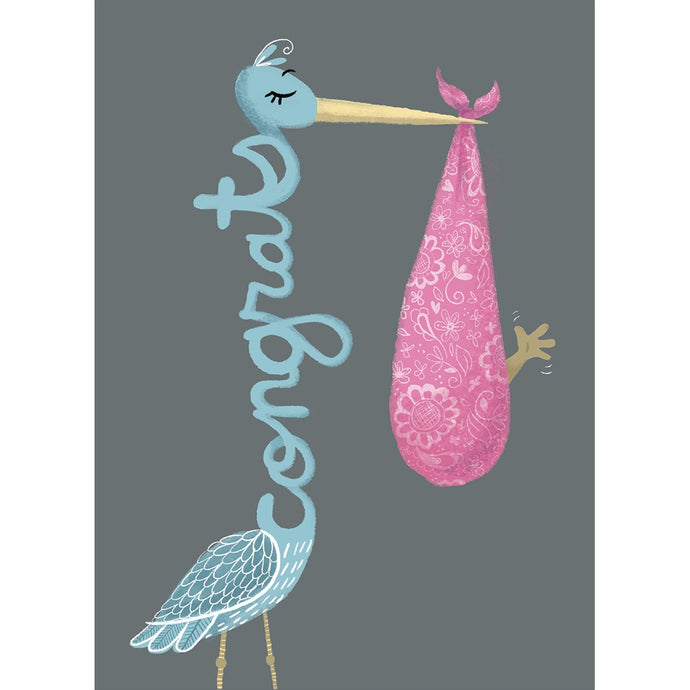Congrats Stork New Baby Greeting Card