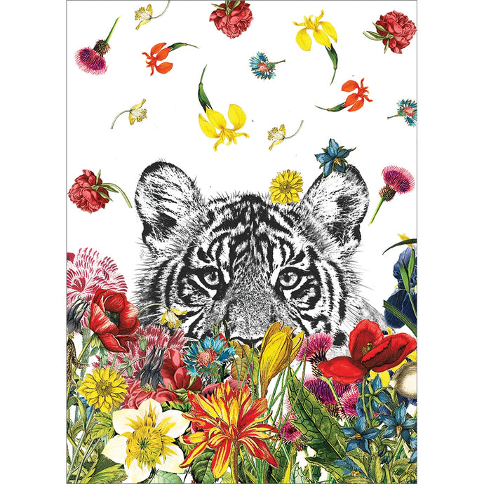 White Tiger Flowers All Occasion Greeting Card