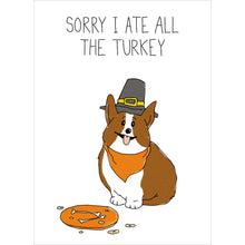 Load image into Gallery viewer, Corgi Turkey Fall & Thanksgiving Greeting Card