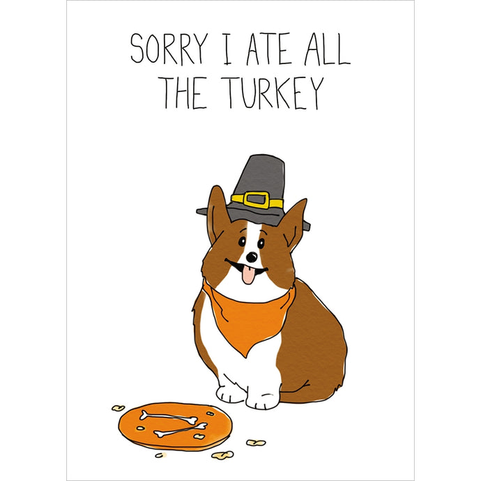 Corgi Turkey Fall & Thanksgiving Greeting Card
