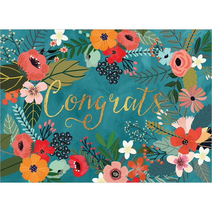 Congrats Flowers Vibrant Congratulations Greeting Card