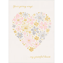 Load image into Gallery viewer, Heart Of Flowers Thank You Greeting Card