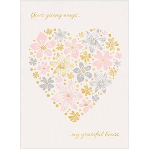 Heart Of Flowers Thank You Greeting Card