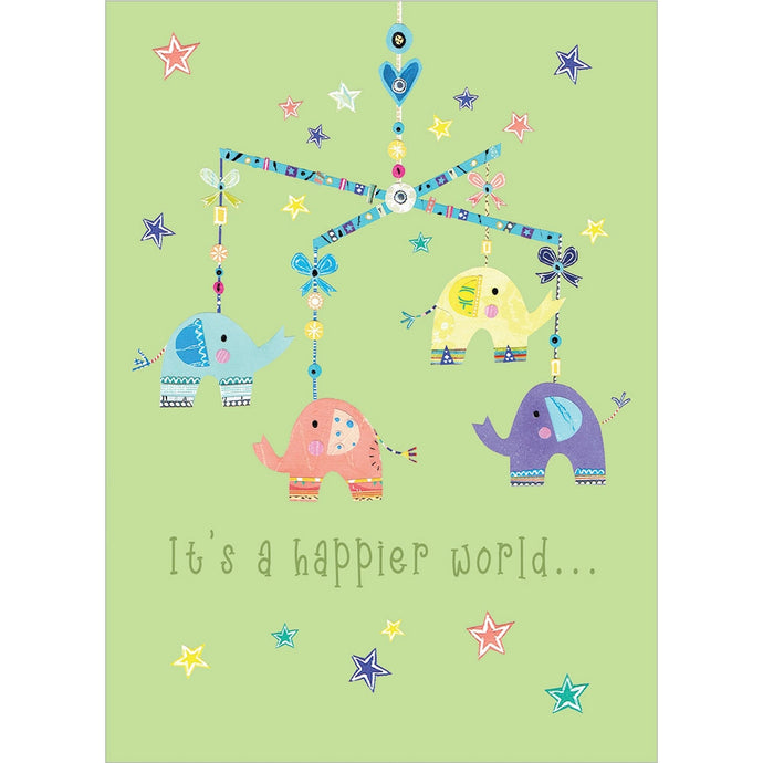 Elephant Mobile New Baby Greeting Card