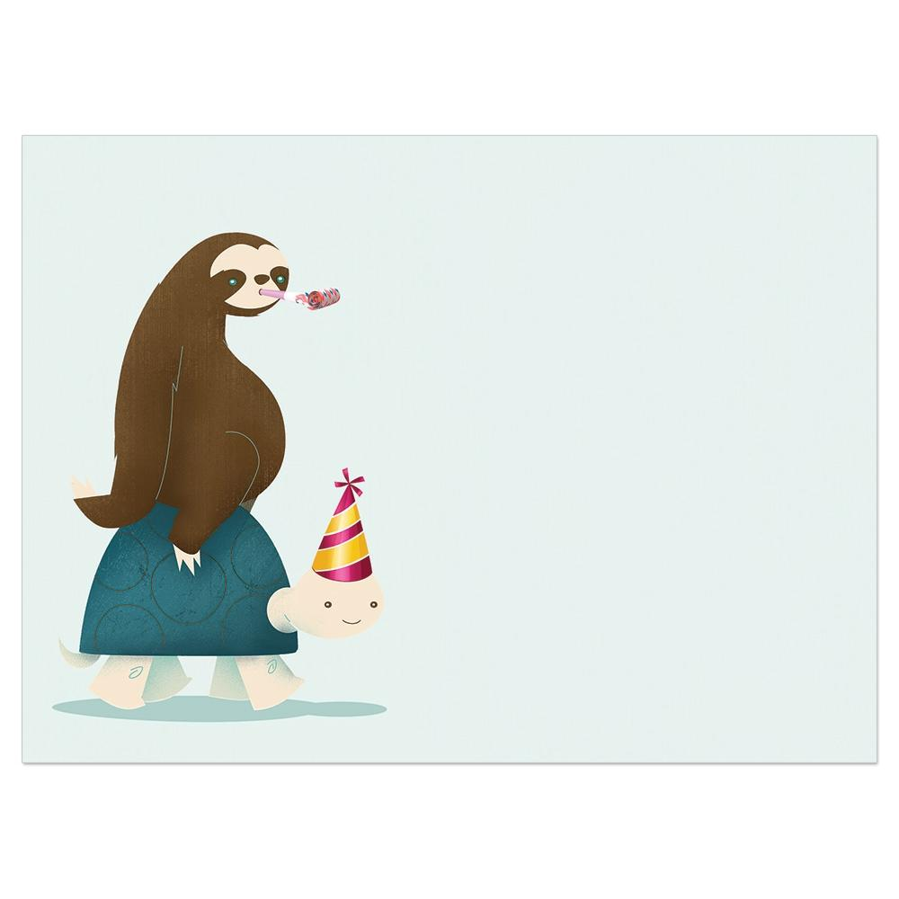 Sloth And Turtle Birthday Birthday Greeting Card
