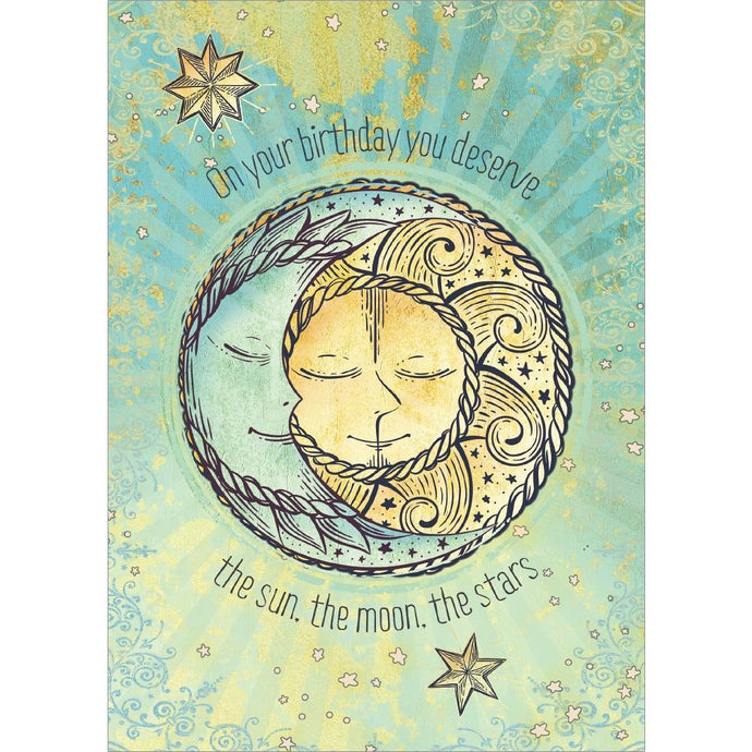 Sun Moon and Stars Birthday Greeting Card