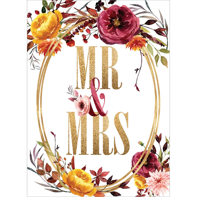 Gold Mr. And Mrs.  Wedding Greeting Card