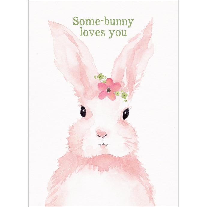 Pink Bunny Easter Greeting Card