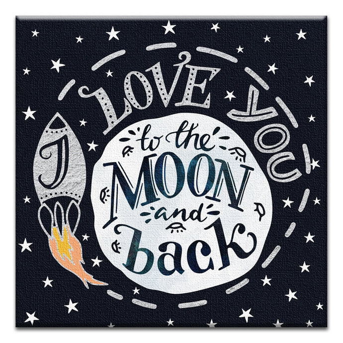 To the Moon and Back  All Occasion Thumbtack Canvas Art Card
