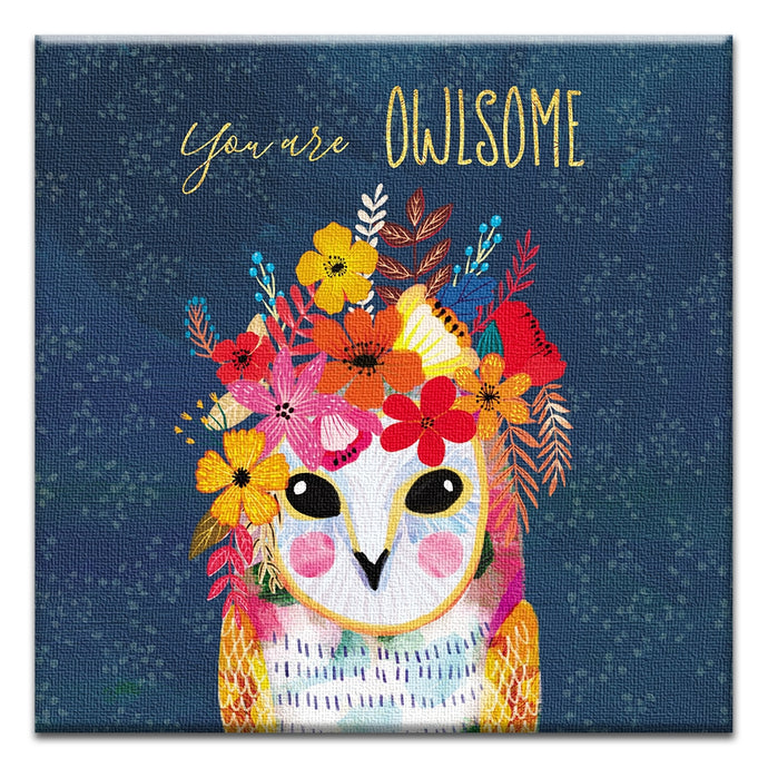 You Are Owlsome  Friendship Thumbtack Canvas Art Card