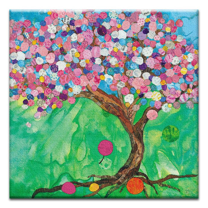 Balloon Tree  Birthday Thumbtack Canvas Art Card