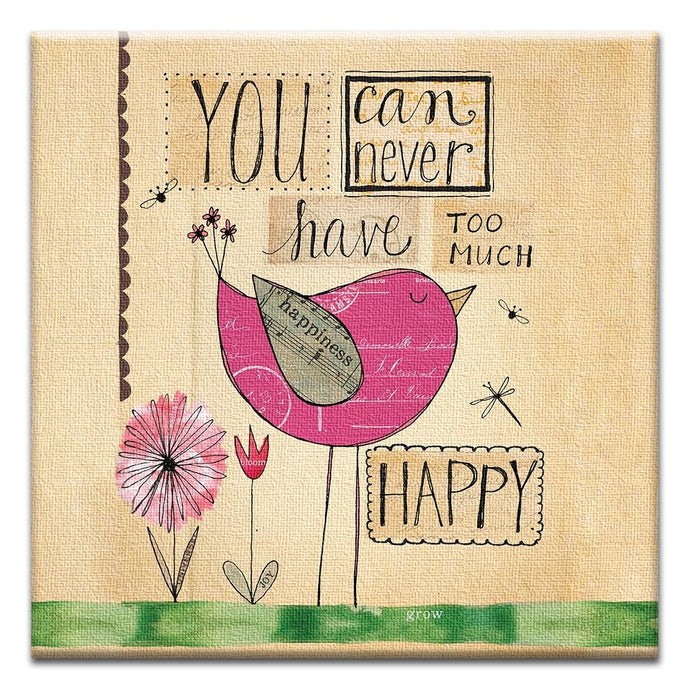 Never too Happy  Birthday Thumbtack Canvas Art Card