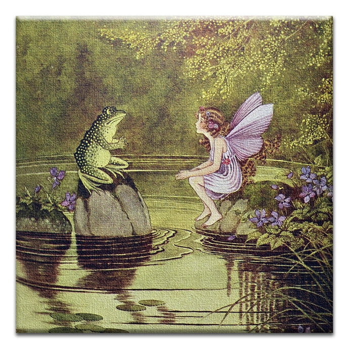 Fairy and Frog  Friendship Thumbtack Canvas Art Card
