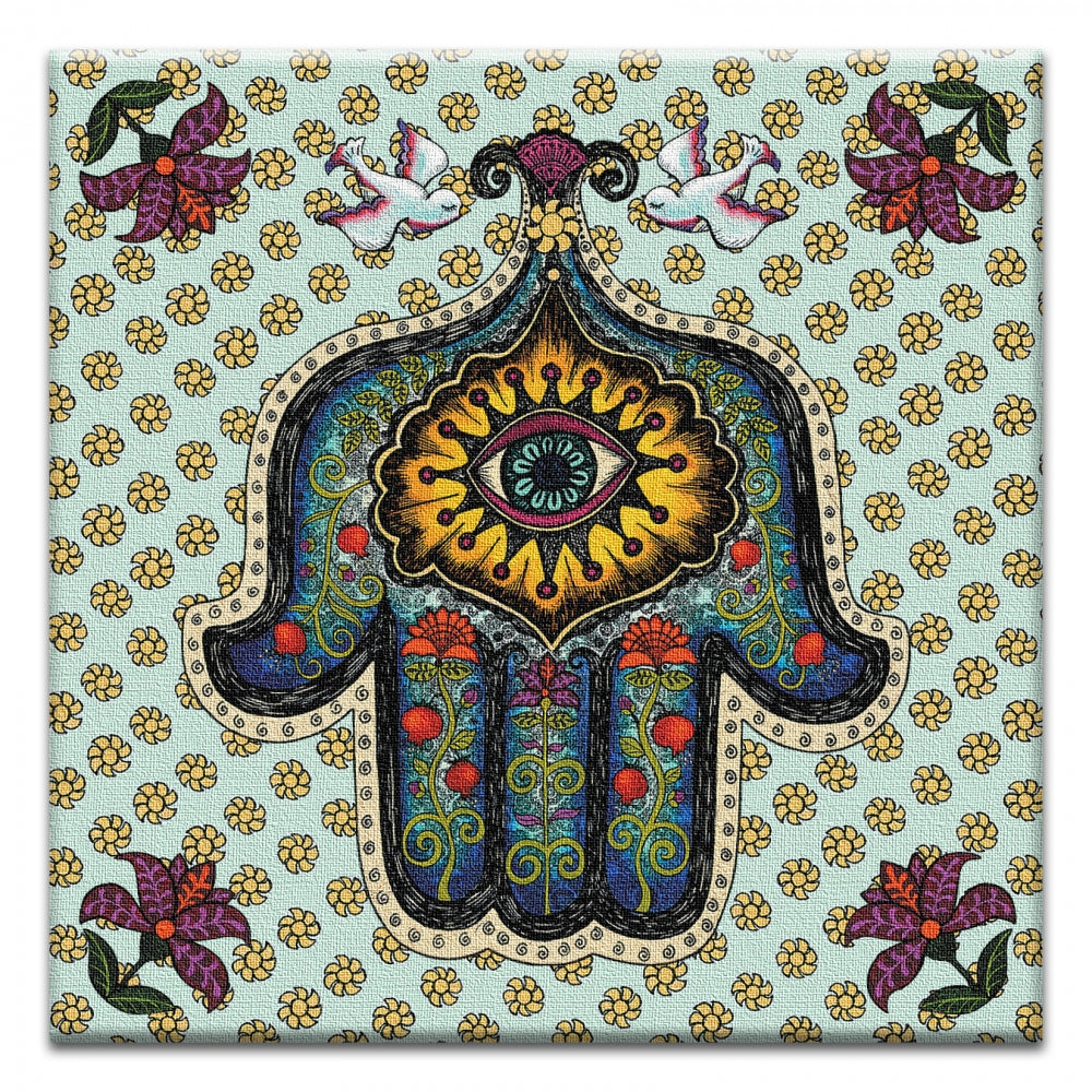 In Safe Hands Hamsa  All Occasion Thumbtack Canvas Art Card