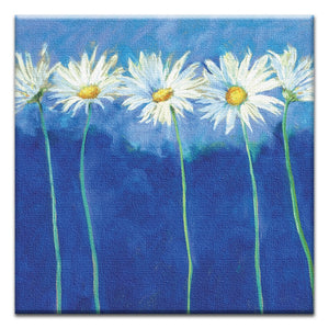 Daisies on Blue  All Occasion Thumbtack Canvas Art Card