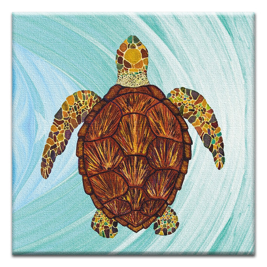 Sea Turtle Mosaic  All Occasion Thumbtack Canvas Art Card