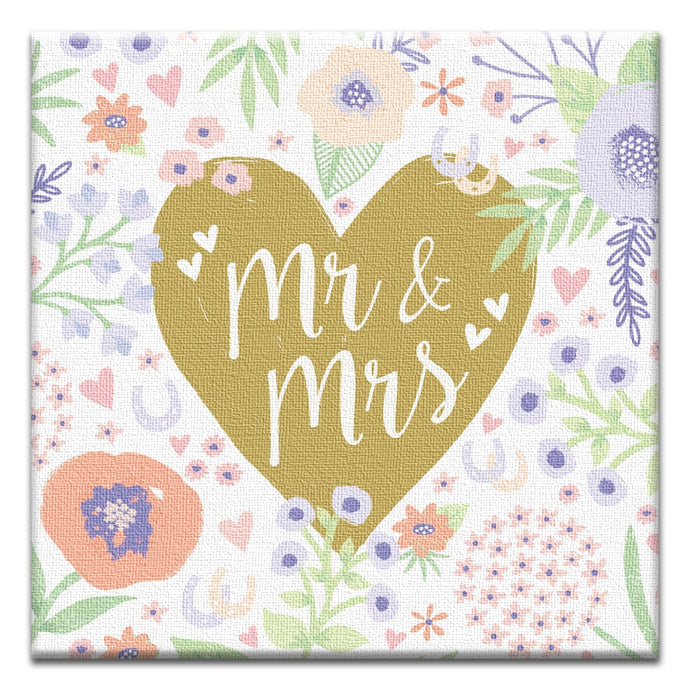 Mr. And Mrs. Floral Wedding Thumbtack Canvas Art Card