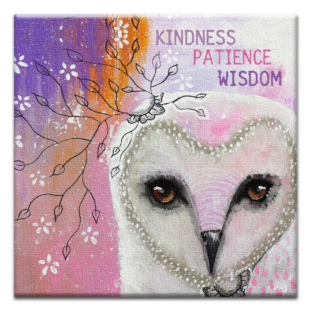Kindness Owl All Occasion Thumb-Tack Canvas Art Card