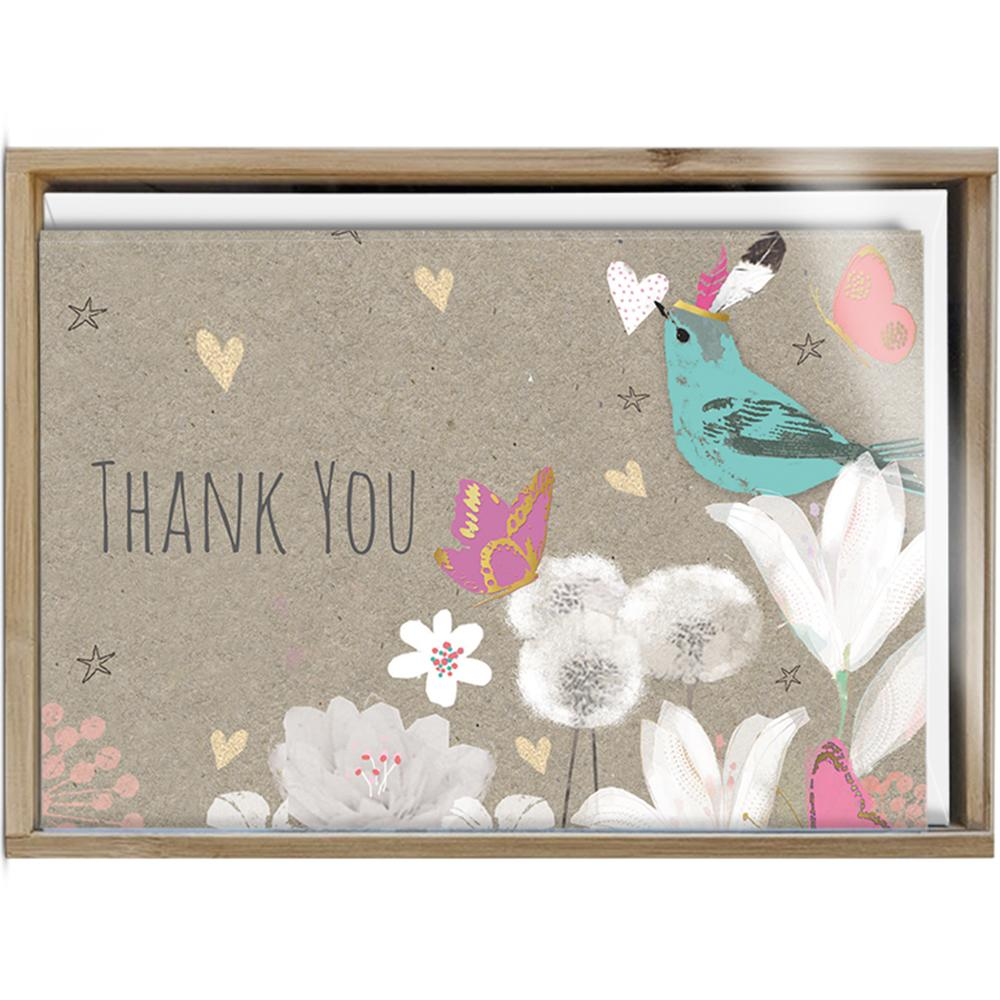 Floral Bird Thanks 4x6 Thank You Bamboo Box Notecard Sets