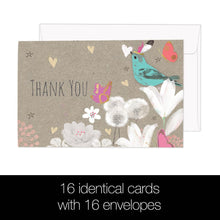 Load image into Gallery viewer, Floral Bird Thanks 4x6 Thank You Bamboo Box Notecard Sets