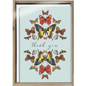 Botanical Butterflies 4x6 Thank You Bamboo Box Notecard Sets