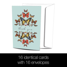 Load image into Gallery viewer, Botanical Butterflies 4x6 Thank You Bamboo Box Notecard Sets
