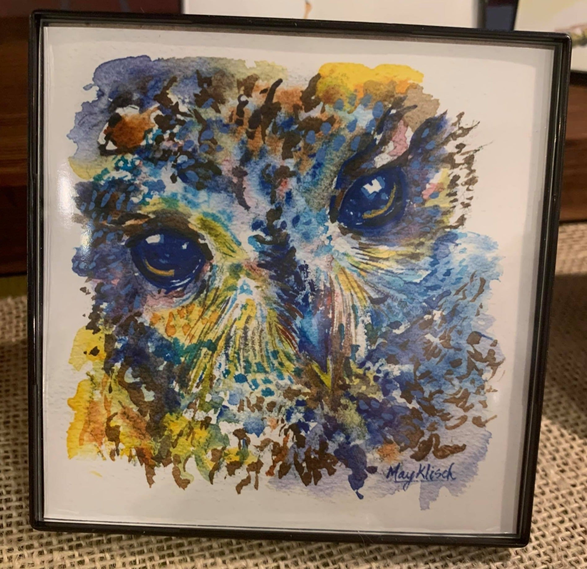 Colorful Owl watercolor print. Wisconsin artist May Klisch 4x4in