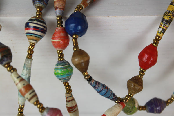 Colorful Beaded Necklace 24in. Fair Trade Uganda