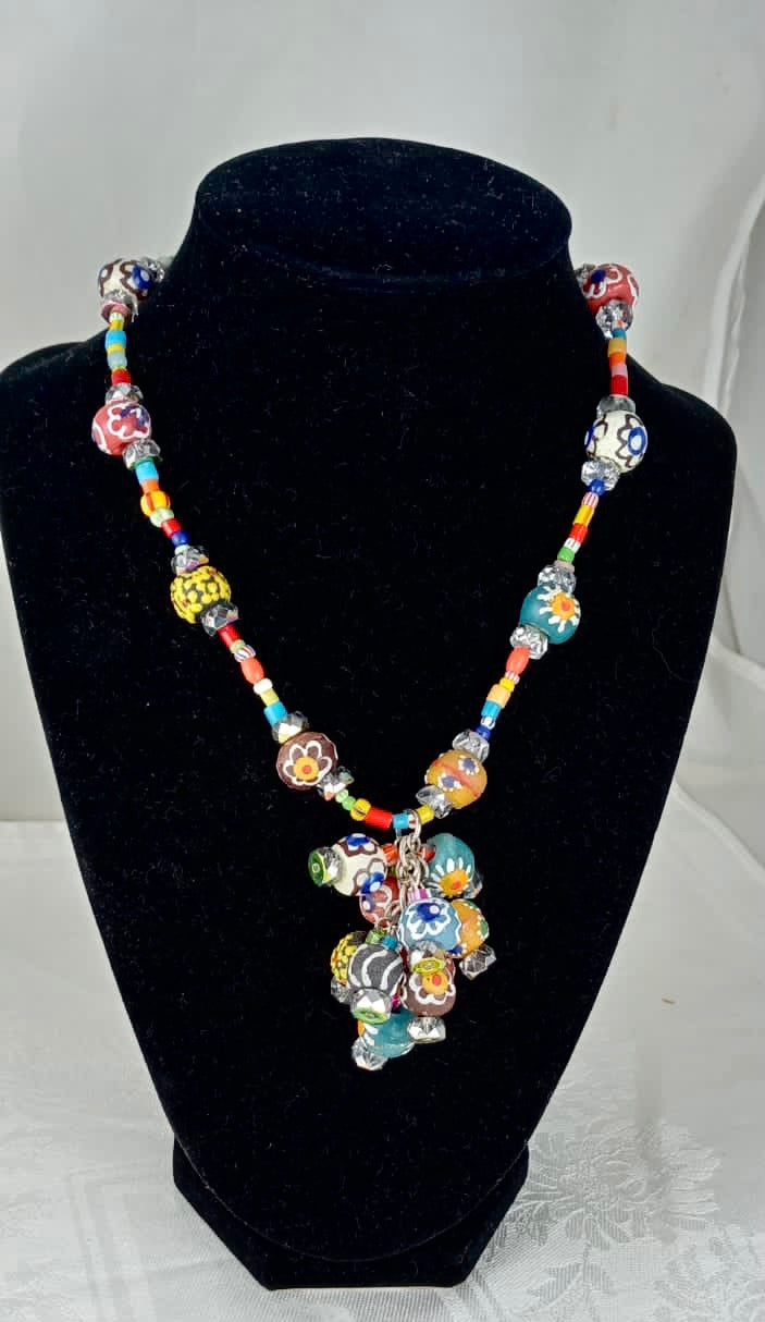 African Trade Bead necklace.  16in. Fair Trade