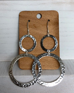Earrings. Circles. Hand made.  Silver. fair trade Mexico