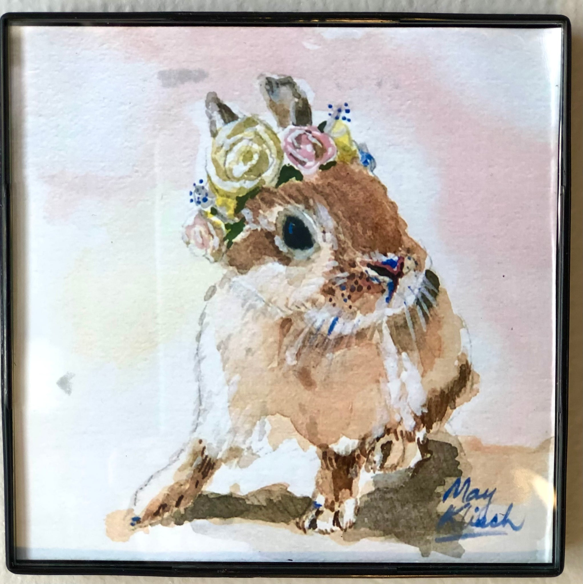 Bunny w/flower original art print with frame 4x4 May Kitsch