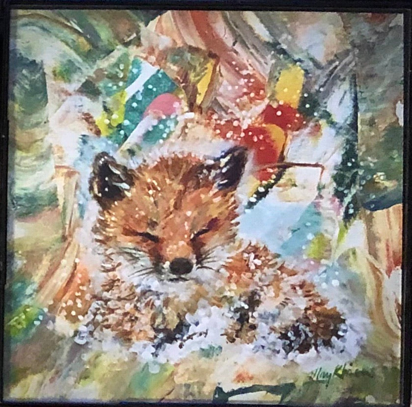 Fox original art print with frame 4x4 May Kitsch