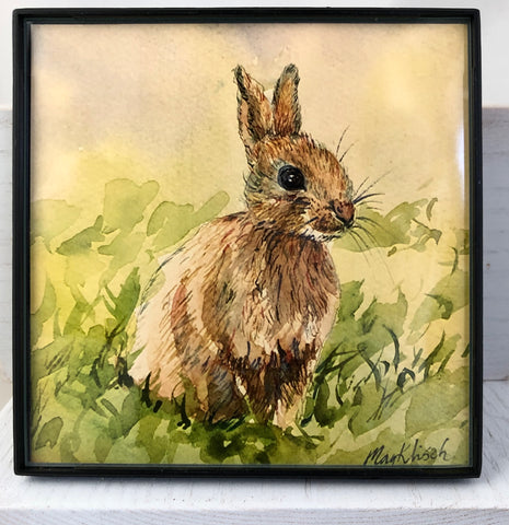 Bunny original art print with frame 4x4 May Kitsch
