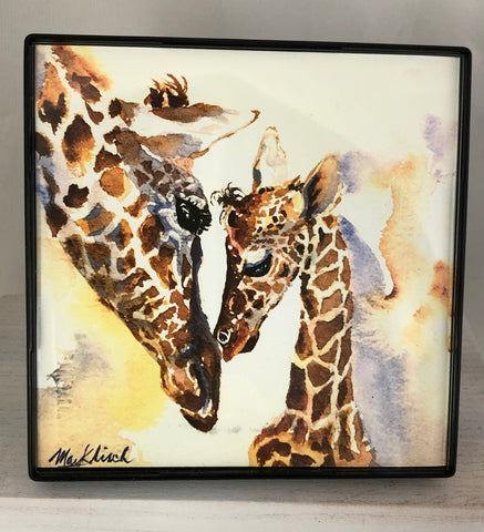 Giraffes watercolor Print. Wisconsin artist May Klisch 4x4in