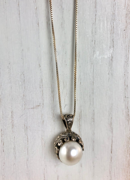 Pearl Necklace Bali. Sterling Silver. Fair trade artisan made